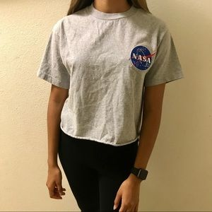 NASA patch cropped top